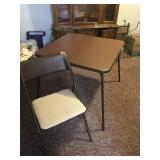 Padded card table & 4 chairs