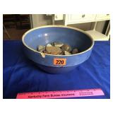 """Blue stoneware bowl 11"""" (some chips)"""