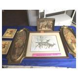Deer print, shadow box frame & others