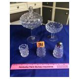 Fostoria candy dishes, S &P shakers, toothpick
