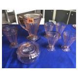 Depression pitcher, 5 glasses, & sugar bowl