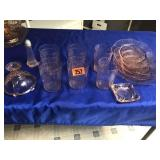 Assortment of Depression glass items