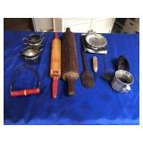 Rolling pins, ice pick, & other items