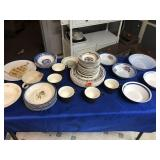 Miscellaneous plates, cups, bowls with some chips