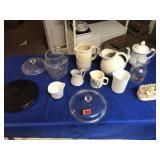 Pitchers, lids, tea pot, & vase