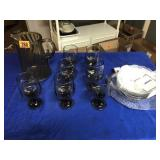Pitcher & 7 glasses with serving bowls & plate