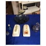 2 Pyrex butter dishes, cruet, dip bowl  & shaker