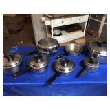 Assortment of pots & pans & skillets