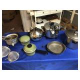 Pressure cooker, deep fryer, sifters, pans, & pie