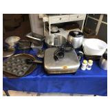 Electric skillet, bread pans & other items