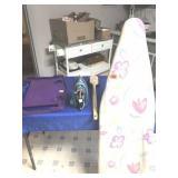 Ironing board, iron, tray, & scrub brush