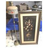 Floor lamp & large floral framed print (shade has
