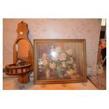 Floral print (Bessie Helstrom),  & wall mirror