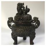 19th century Chinese bronze lion incense burner