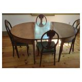 Georgian Leaf Dining Table w/ 4 Antique Chairs