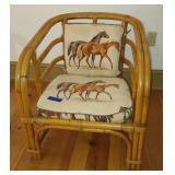 Kane Kraft Rattan Upholstered Chair - B