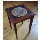 Inlayed Feather Art Side Table