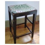 Wooden Stool w/ Floral Upholstery