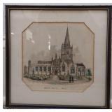 Burford Church Lithograph in Frame