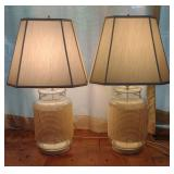 Pair of Glass & Weave Style Table Lamps