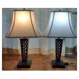 Pair of Metal Black Lattice Table Lamps