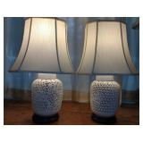 Pair of Ornate Porcelain Table Lamps