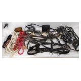 Assortment of Horse Bridles, Straps, & Rope