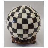 Ox Horn & Bone Checkered Ball Sculpture