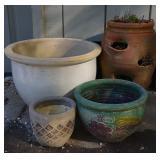 4 Different Sized Ceramic Planters