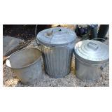 Small Steel Trash Cans & Bucket