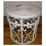 Round White Wicker Side Table