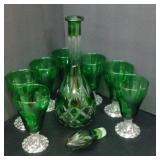 English Vintage Decanter Fine Green Cut Crystal 8