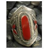Huge Vintage Tibetan Silver Carnelian Cuff