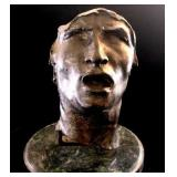 """French Antique Rodin Bronze """"Mask of Sorrow"""" on"""