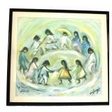 Vintage 1978 Signed Native American Dancing Circle