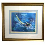 """45"""" Signed Leroy Neiman Lithograph """"Sailing"""""""