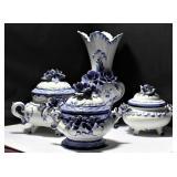 Rare Italian Decorative Porcelain Serving Set w. V
