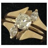 Vintage Diamond Engagement Ring in Gold GLA Certif