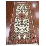 Persian Tabriz Runner Rug of Wool & Silk #178
