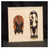 Vintage Ebony African Maasai Works framed in Leuci