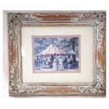 """Vintage Framed French """"Merry-Go-Round"""" Painting"""