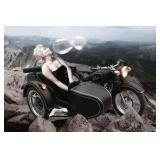 73) Monroe on Motorcycle - 60 X 40 Surreal Artwork