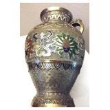 "Old Chinese Cloissone & Gold Leaf Vase 10"""