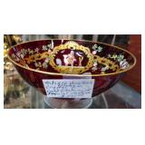 Antique German Imperial Ruby Crystal Bowl