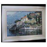 Vintage Large Framed Lithograph Italian Seafront V