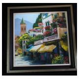 Vintage Large Framed Lithograph Italian Village Ro