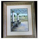 Vintage Litho Impressionist Garden & Pasture Scene