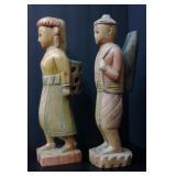 Vintage Pair of Wood Carved Asian Statutes