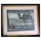 Vintage Photograph of Camel & Tribesman Resting Un