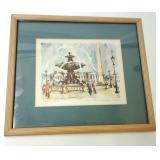 """Vintage Signed French Painting """"Place De la Conco"""
